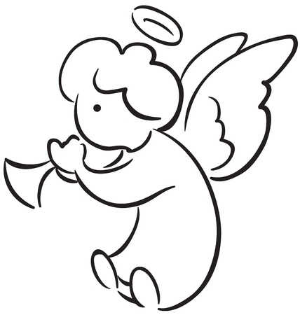 Angel with a trumpet Vector
