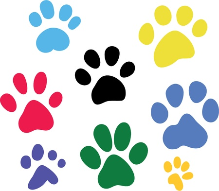 paw paw: Set of vector colored paw prints