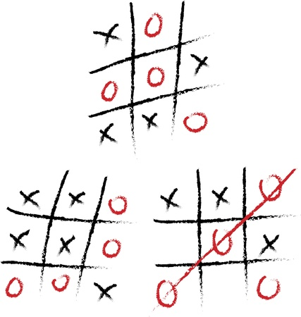 Tic-tac-toe set on a white board Vector