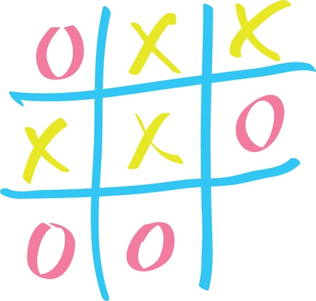 Tic-tac-toe on a white board Illustration