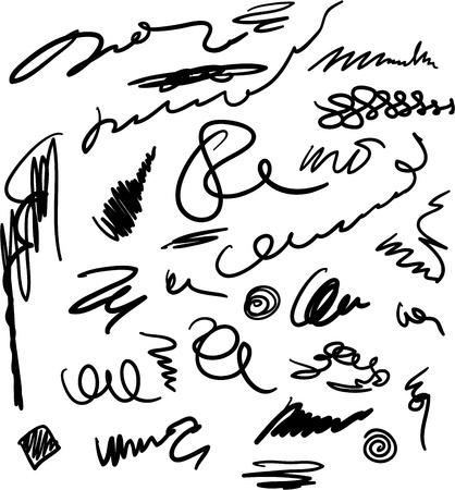 unreadable: Unreadable and unrecognizable scribbles set