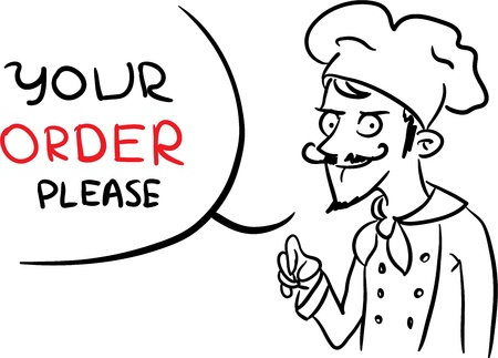Freaky cartoon Chef asking for an order  Illustration