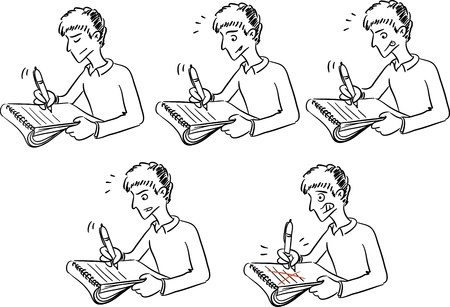 Young man writing something in notebook  Illustration