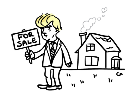 trump: Donald Trump with FOR SALE sign in the hand standing in front of the house