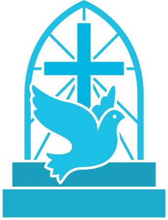 Christian church logo with flying dove, cross and stairs. Flat isolated vector icon symbol for hope, love an Jesus. Ilustrace