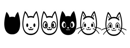 Cat icons collection. Kittens emoji symbols set. Black and white simple outline cats head emoticon pictures.