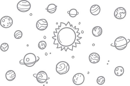 Space doodle vector elements. Hand drawn stars, comets, planets and moon in sky. Astronomy space science illustration