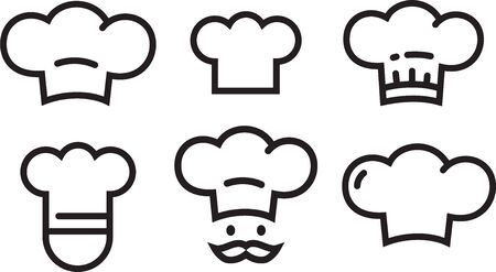 Chef icons set, chefs hat symbols. Vector logo collection simple lineart outline icons isolated.