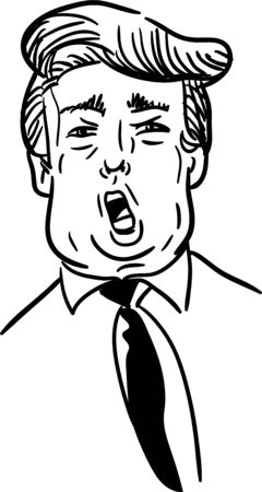 Trump caricature black and white hand-drawn vector. Shouting speech doodle sketch of american president with open mouth.
