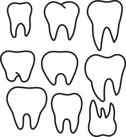 Set of simple stomatology vector logos. Elegant one line teeth drawings. Tooth icon set. Ilustrace
