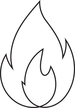 Abstract fire doodle, one line. Continuos line minimalism style flames vector drawing. Ilustrace