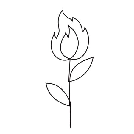 Abstract fire flower one line doodle. Vector continuous line drawing. Ilustrace