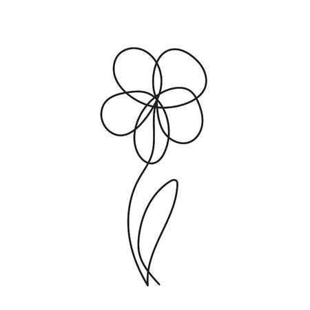 Simple one line flower doodle. Vector continuous line drawing. Ilustrace