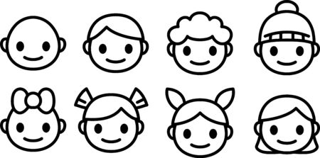 Happy and sad smile cartoon icons set. Little boy head emoji in different moods. Vector outline icons collection isolated. Illustration