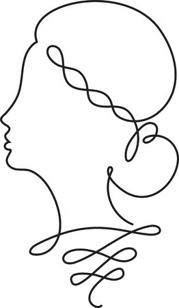 Creative female face continuous line drawing. Abstract face one line drawing. Woman portrait minimalistic style. One liner vector. Ilustrace