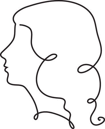 Kontinuierliche Strichzeichnung des kreativen weiblichen Gesichts. Abstraktes Gesicht eine Strichzeichnung. Minimalistischer Stil des Frauenporträts. Ein Linienvektor.