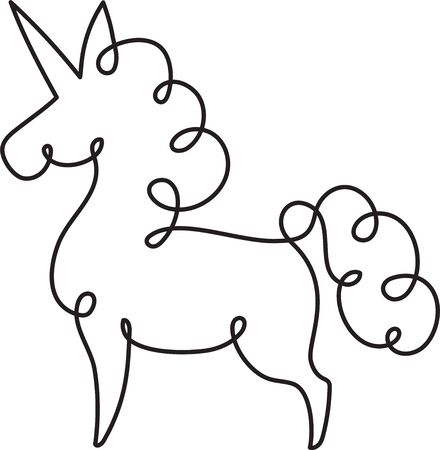 Unicorn one line drawing. Abstract continuous line elegant vector doodle.