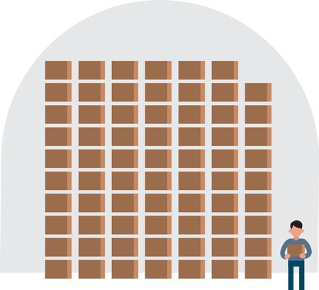 Cartoon of a big store warehouse with lot of boxes on shelves, little worker character is holding one box. Infographics elements, simple vector.