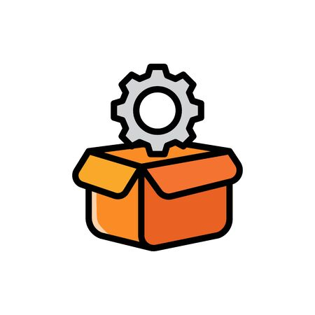 Gear in a box cartoon icon drawing, concept of a product or machinery ready to be delivered to the customer. Simple vector illustration, editable stroke.