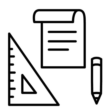 Black and white notes, pencil and ruler icon cartoon, simple line art, editable stroke. Sketch on paper, blueprints concept. Back to school vector drawing.