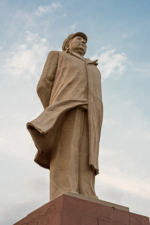 Mao Zedong outdoor statue low angle view