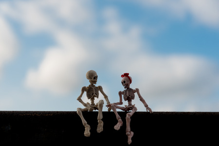 Two miniature skeleton figures sitting on a wall under the clear blue sky as a couple concept
