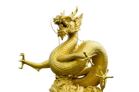 phuket province: Gold Dragon Sculpture Figure Art China in Phuket Province, Thailand Stock Photo