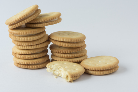 Stack of crackers on the white background
