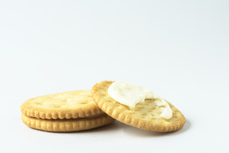 Two crackers on the white background