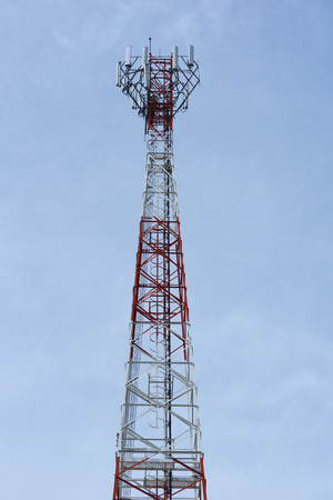 A telephone transmission antenna on blue sky background