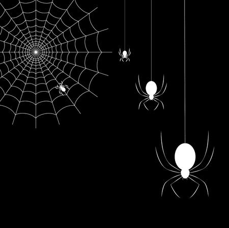 Hanging spiders and spider on spider web on black background. Vector illustration