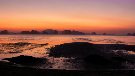 Panoramic view of sunrise at Koh Yao Noi island, Phangnga province, Thailand Banco de Imagens