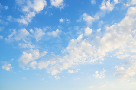 Background of beautiful puffy clouds and blue sky in the morning