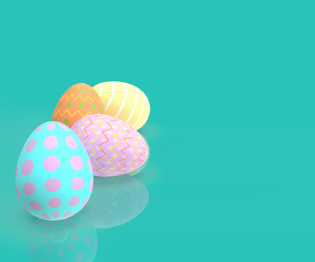 Happy Easter. Set of decorative easter eggs with different patterns on pastel background. 3D rendering Illustration-Illustration