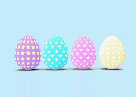 Happy Easter. Set of decorative easter eggs with different patterns on pastel background. 3D rendering Illustration.