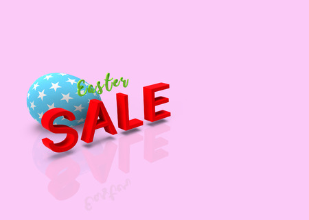 Easter sale, pattern blue easter egg on pastel background, 3D rendering Stock Photo