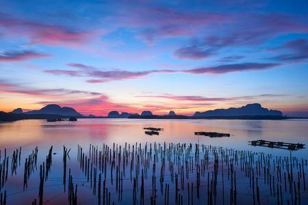 Scene of beautiful sky and clouds at Sam-Chong-Tai village, Phang-Nga, Thailand
