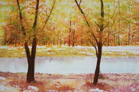 Water color paining of tree leave color change in Fall