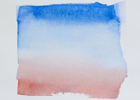 Abstract background of blue, and red water color on white paper