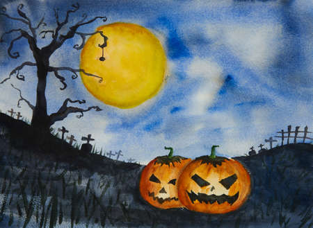 Happy halloween. Watercolor painting of pumpkins in  cemetery on full moon background. 免版税图像