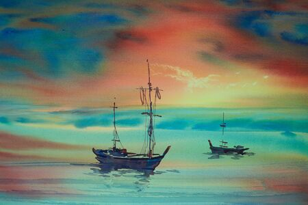 Watercolor painting of long-tail boats in the sea aginst colorful background