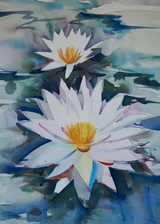 Watercolor painting of beautiful lotus flowers in the water Stock Photo - 132101308
