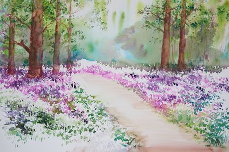 Watercolor painting of tree and beautiful pink flowers in the wood