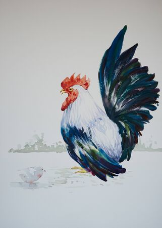 Watercolor painting of beautiful hen and a little chicken 写真素材