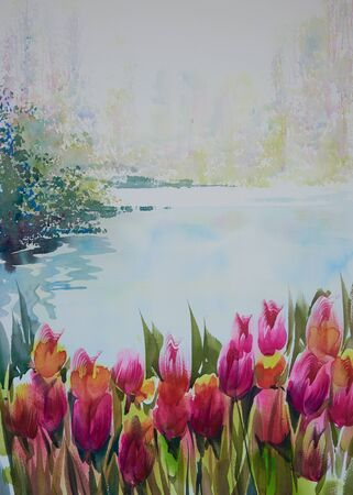 Watercolor painting of beautiful tulips in the garden Zdjęcie Seryjne - 132101537