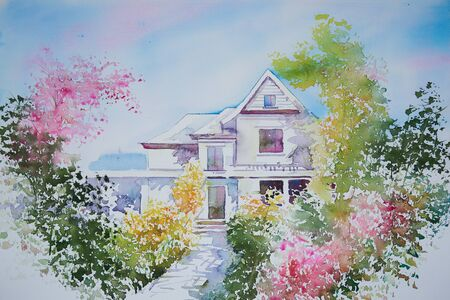 Watercolor painting of a house and beautiful colorful flower garden 写真素材