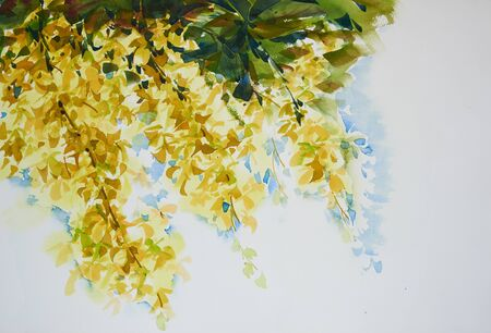 Watercolor painting of beautiful yellow flowers on white background