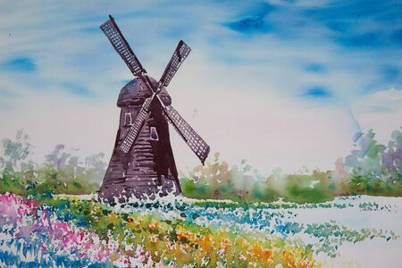 Watercolor painting of a windmill and beautiful landscape