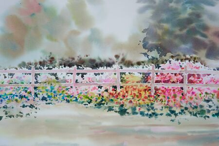 Watercolor painting of beautiful flowers near the fence