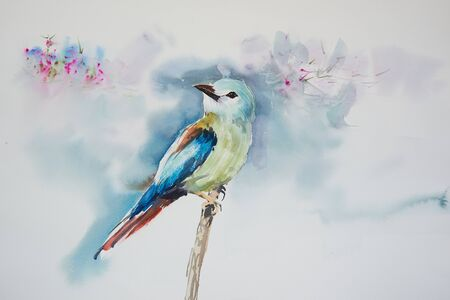 Watercolor painting of beautiful bird on the branch of tree 写真素材